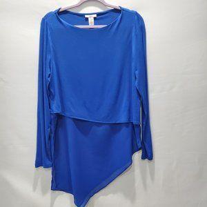 Bar III Womens Top Size L Blue Asymmetrical P154
